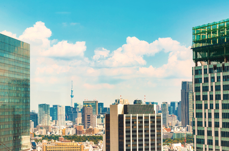 View of the Tokyo Skytree from Shibuya, Tokyo, Japan Stock Photo