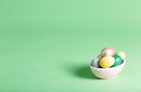 Easter holiday theme with painted ornamental eggs