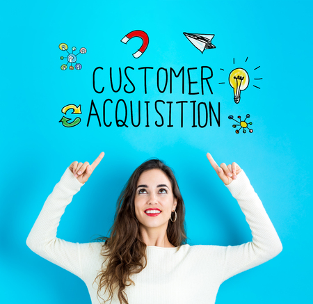 Customer Acquisition with young woman reaching and looking upwards