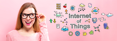 Internet of Things with happy young woman holding her glasses Stock Photo
