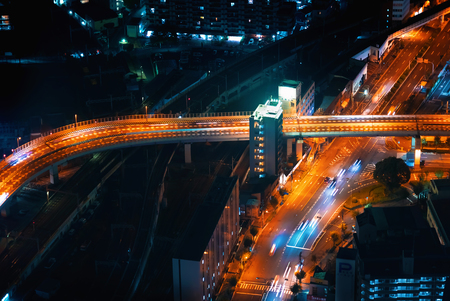 Aerial view of an intersection in Osaka at night