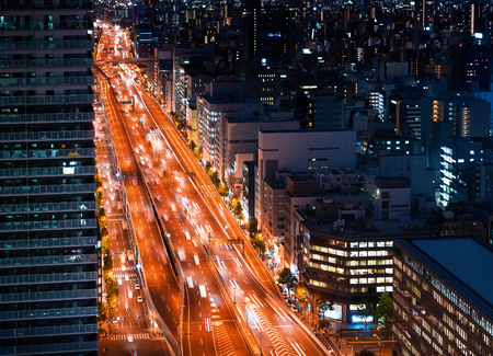 Aerial view of a massive highway in Osaka, Japan