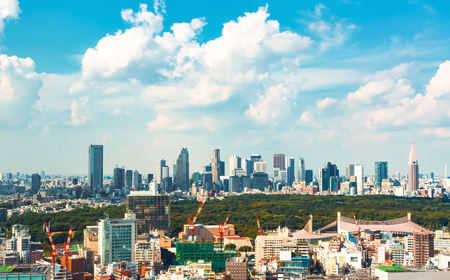 View of the Shinjuku skyline from Shibuya, Tokyo, Japan Stock Photo - 97778617