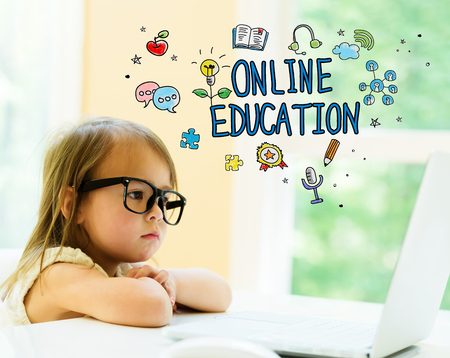 Online Education text with little girl using her laptop