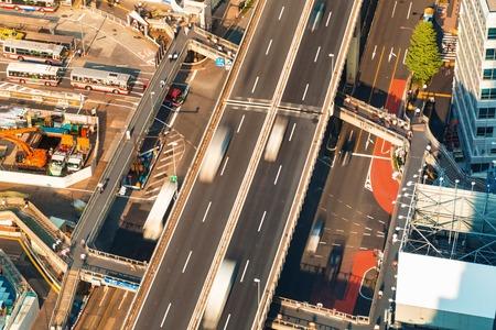 Aerial view of an elevated highway in Tokyo, Japan