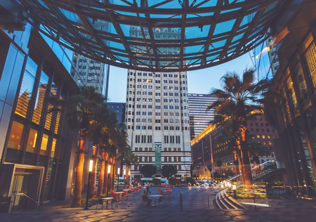 View of a large plaza in Downtown Los Angeles, CA