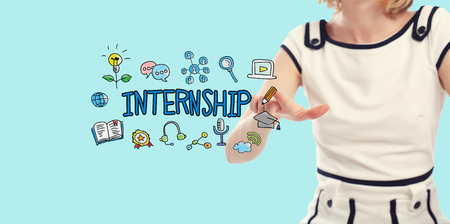 Internship concept with young woman on a blue background