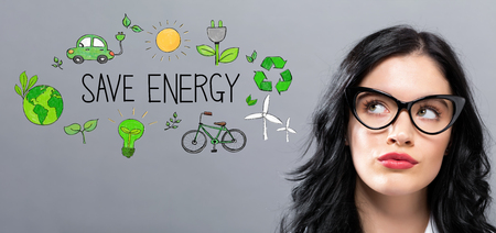 Save Energy with young businesswoman in a thoughtful face