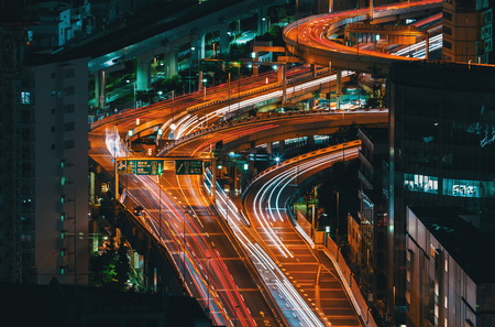 Aerial view of a highway interesection in Tokyo, Japan at night Stock Photo