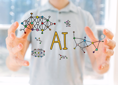 AI with young man holding his hands