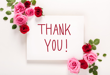 Thank You message with roses and leaves top view flat lay