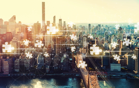 Puzzle Pieces with the New York City skyline near Midtown Stok Fotoğraf