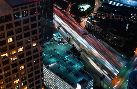 Aerial view of the expressway going through Downtown Los Angeles, CA