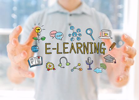 E-Learning with young man holding his hands Banco de Imagens