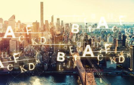 Alphabets with the New York City skyline near Midtown 스톡 콘텐츠