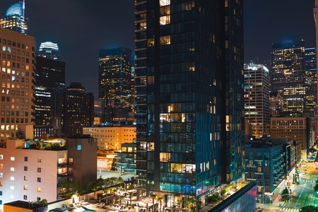 Aerial view of Downtown Los Angeles, CA at night Banco de Imagens
