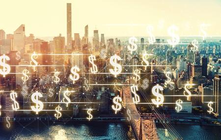 Dollars with the New York City skyline near Midtown
