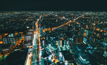 Aerial view of the Osaka cityscape at night Archivio Fotografico - 99310260