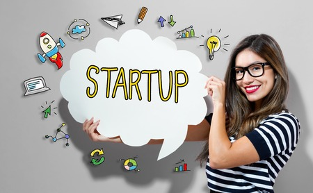 Startup text with young woman holding a speech bubble