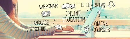 Online Education with woman working on a laptop in brightly lit room Stock fotó - 99722342