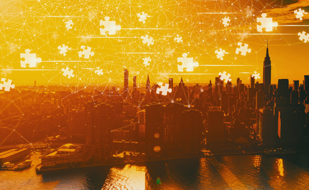 Puzzle Pieces with the Manhattan, NY skyline 写真素材
