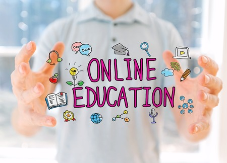Online Education with young man holding his hands 版權商用圖片