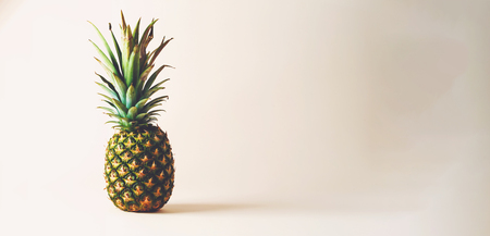 Ripe pineapple on a wide cream background