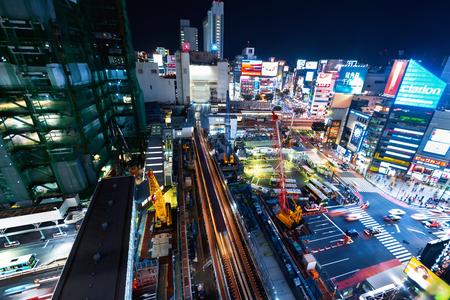 Aerial view of Shibuya, Tokyo, Japan at night