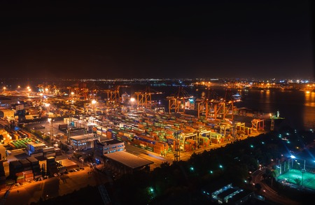 Aerial view of container ship docking station in Odabia, Tokyo, Japan