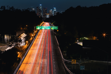 Highway leading to Downtown Los Angeles at night