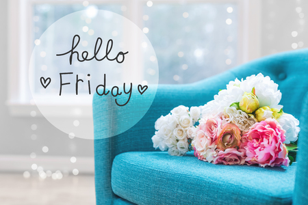 Hello Friday message with flower bouquets with turquoise chair Stockfoto - 101252943