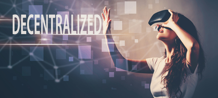 Decentralized with young woman using a virtual reality headset