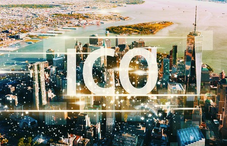ICO with aerial view of Manhattan, NY skyline