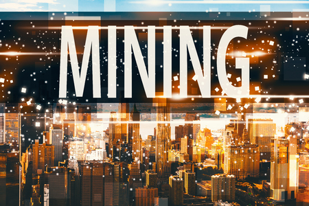 Mining with aerial view of Manhattan, NY skyline