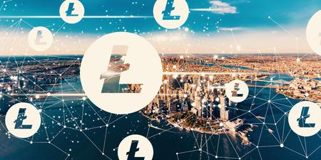 Litecoin with aerial view of Manhattan, NY skyline Stock Photo
