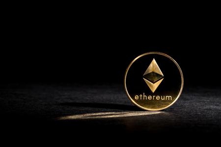 Ethereum ether coin on a dark background