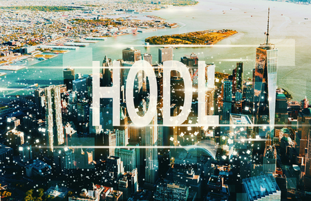 Hodl with aerial view of Manhattan, NY skyline 版權商用圖片