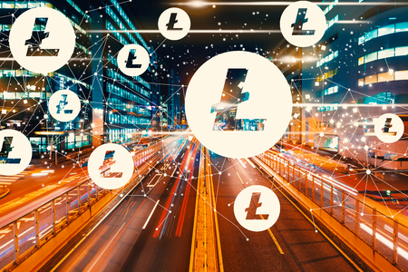 Litecoin with view of motion blurred traffic