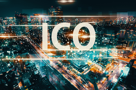 ICO with aerial view of Tokyo, Japan at night Zdjęcie Seryjne