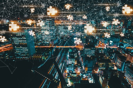 Puzzle Pieces with aerial view of Tokyo, Japan at night Stock Photo - 102568978