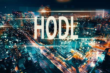 HODL with aerial view of Tokyo, Japan at night 版權商用圖片