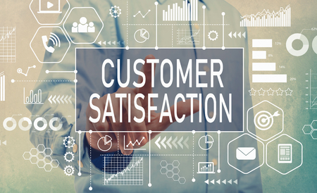 Customer Satisfaction with businessman pointing digital screen Stock Photo