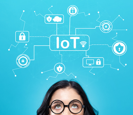 IoT security theme with young woman on a blue background