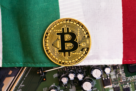 Bitcoin cryptocurrency coin with the national flag of Italy Stock Photo