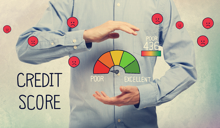 Poor Credit Score with businessman on a soft colored wall