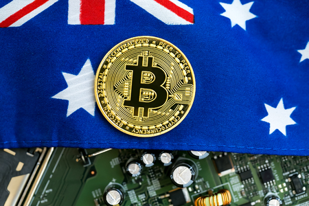 Bitcoin cryptocurrency coin with the national flag of Australia