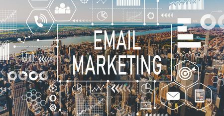 Email marketing with aerial view of Manhattan, NY skyline