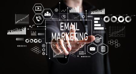 Email marketing with businessman on a black background