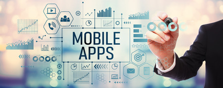 Mobile apps with businessman on blurred abstract background