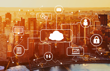 Cloud computing with aerial view of Manhattan, NY skyline